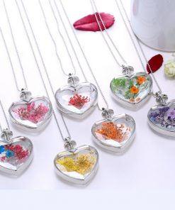 Fashion influx jewelry heart-shaped crystal pendant alloy plating dried flower necklace factory direct Mixed batch  YYH-003