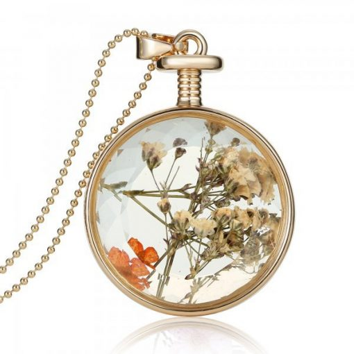 European and American jewelry round starry dried flower necklace plant dried flower pendant manufacturers wholesale Mixed batch YYH-002