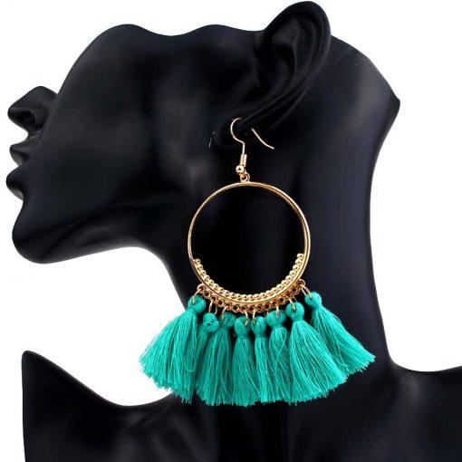 Fashion creative European and American jewelry big circle earrings accessories Bohemian tassel earrings Color mixing YLX-032