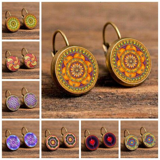 Vintage Time Gemstone Henna Mandala Flower Earrings Mixed Batch YFT-118