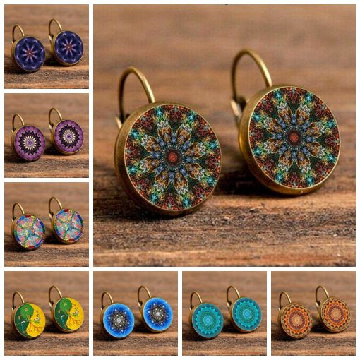 European and American style Mandala time gem French hook retro original 18MM earrings mixed batch YFT-120