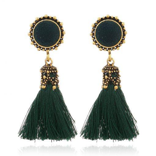 European and American fashion fan-shaped tassel earrings bohemian earrings exaggerated fashion jewelry wholesale YLX-034