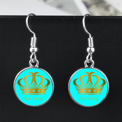 New Her King His Queen Earrings Crown Earrings yft-117