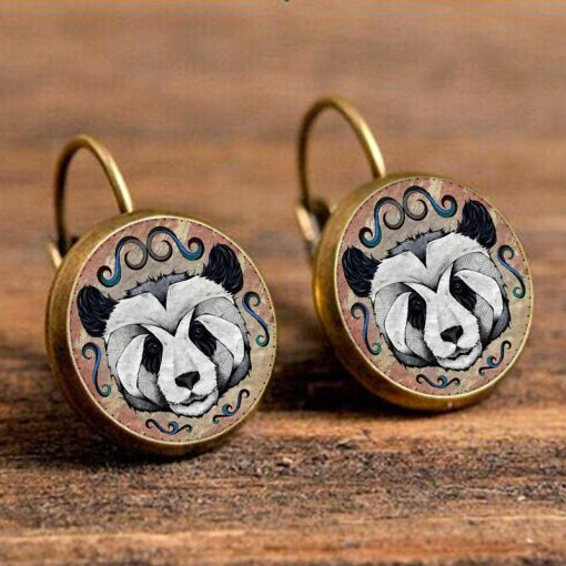 German illustrator Andreas Preis animal illustration time gemstone earrings hot sale mixed batch YFT-109