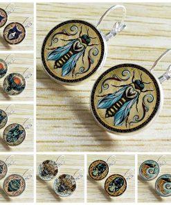 Hot popular new Andreas Preis animal illustration time gemstone French earrings Mixed batch 40/bag YFT-063