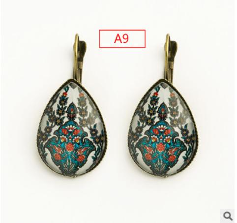 French ear hook simple print drop shape exquisite pattern earrings jewelry wholesale mixed batch YFT-111