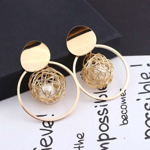 Korea temperament metal round hollow gold wire ball pearl pendant earrings female personality exaggerated earrings ylx-061