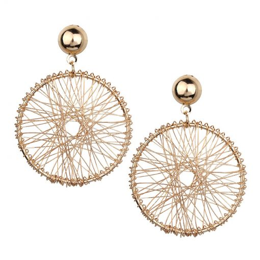 Korean version of the simple design metal geometry round thread winding exaggerated female earrings YLX-082