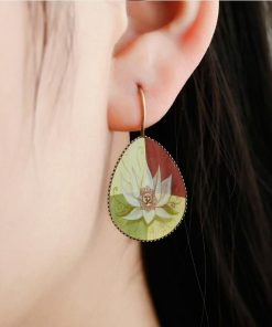 Religious Mandala Flower Time Gem Drop Drop Stud Earrings Vintage French Ear Hook YFT-093