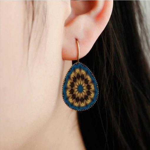 Bohemian retro time gemstone drop earrings factory wholesale yft-076