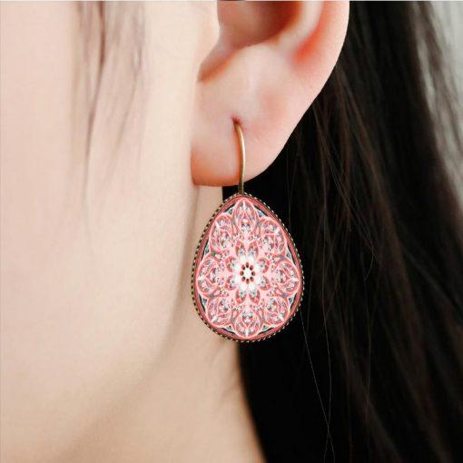 Drip Mandala Earrings New Creative Time Gemstone Earrings Mixed Batch YFT-112