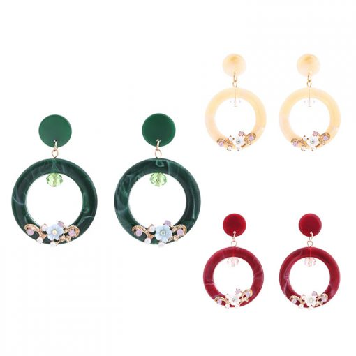 Environmentally friendly acetate plate round rhinestone female earrings wholesale YNR-029