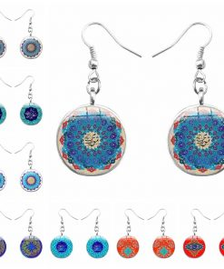Handmade ethnic style time gem islam alphabet mandala flower earrings yft-103