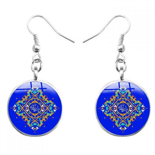 Handmade ethnic style time gem islam alphabet mandala flower earrings yft-103
