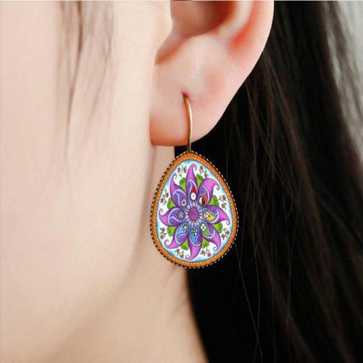 Religious Mandala Flower Time Gem Drop Drop Stud Earrings Vintage French Ear Hook YFT-093