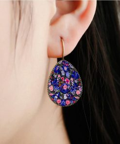 Bohemian retro time gemstone drop earrings factory wholesale yft-076