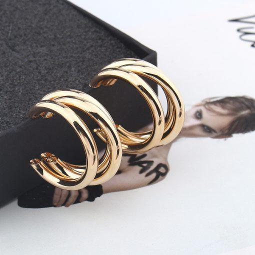 Hot selling irregular semi-circular metal earrings Trendy temperament wild YLX-044