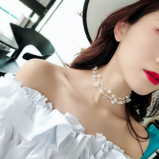 Ladies temperament pearl multi-layer clavicle chain female Japan and South Korea simple chocker collar neck jewelry short necklace YLX-096