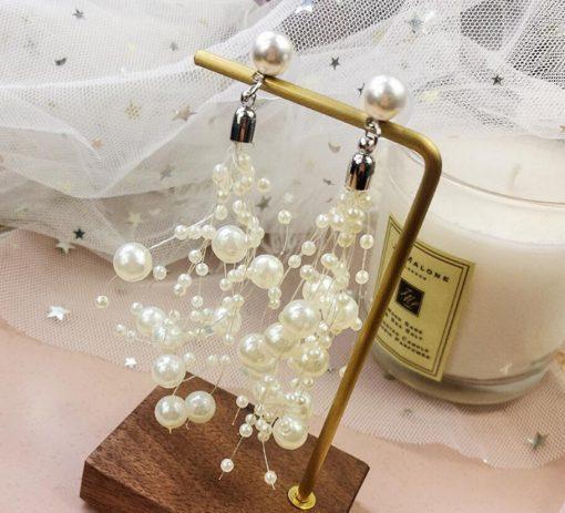 New Korean fashion temperament ladies pearl earrings irregular geometry pearl long tassel earrings YLX-095