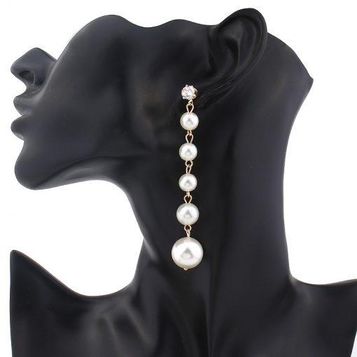 Korean fashion temperament European and American luxury extra long pearl zircon earrings Ladies trend tassel earrings YLX059