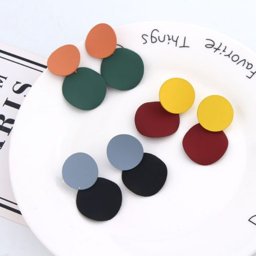 Japan and South Korea autumn and winter new fashion retro temperament disc hit color versatile long paragraph personality simple earrings mixed color YLX-048