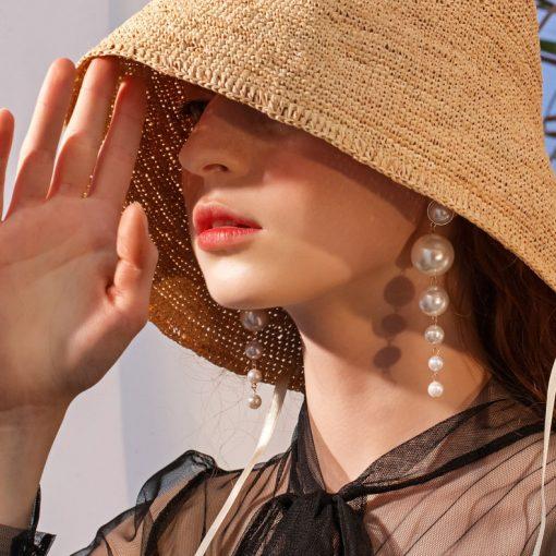Network popular Korean simple temperament long imitation pearl pendant fashion personality wild tide earrings YLX-039