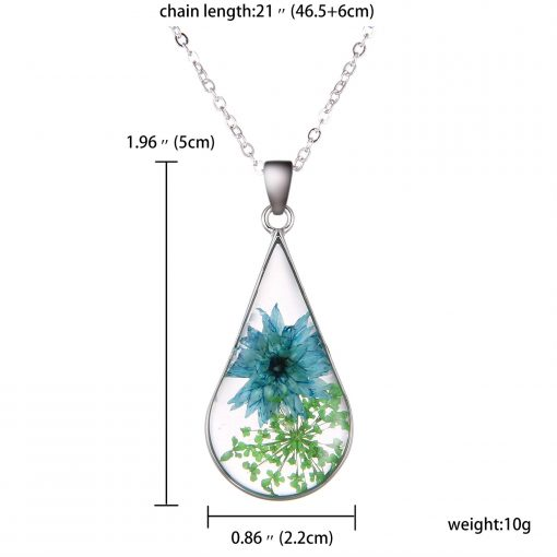 Best selling fashion simple natural dried flower drop-shaped necklace classic blue flower accessories wholesale YYH-006
