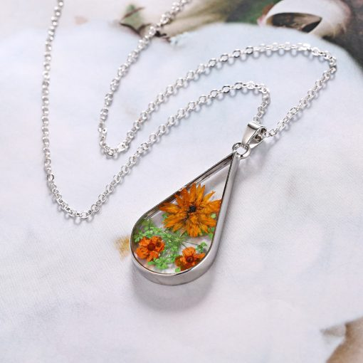 Best selling fashion simple natural dried flower drop-shaped necklace classic small flower items wholesale YYH-007