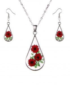 Fashion simple natural dried flower earrings necklace set classic wild accessories factory direct YYH-005
