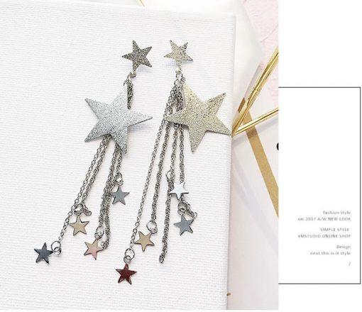 New earrings personality temperament five-pointed star long tassel earrings Korean earrings YLX-102