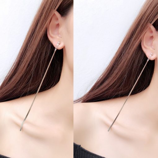 Elegant simple metal thin chain temperament earrings Korean personality fashion long tassel line earrings YLX-056