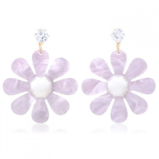 Acrylic flowers inlaid with pearl earrings wholesale YNR-036