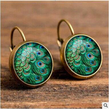 Mandala Gem Europe Retro Moon Angel Glass Earrings  Mixed batch YFT-038 (复制)