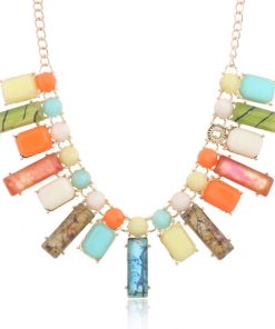 Colored resin necklace exaggerated jewelry new necklace YNR-020