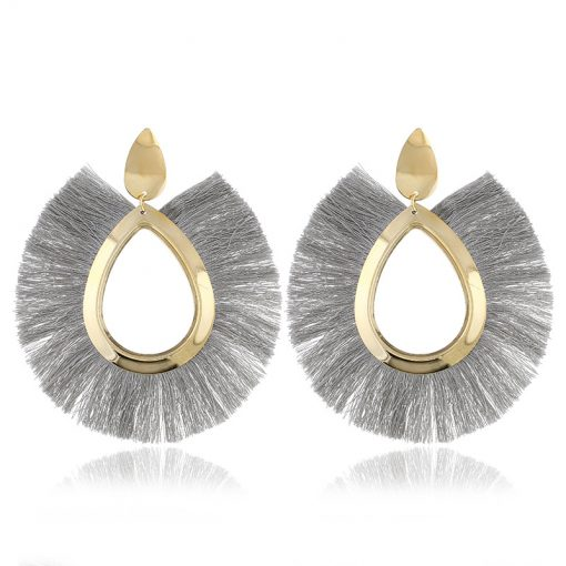 Europe and the United States exaggerated metal wind retro personality exaggerated silk tassel earrings YLX-018