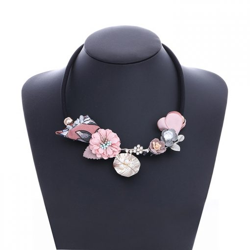 New Printed Fabric Flower Necklace Girl Pearl Rhinestone Exaggerated Jewelry YNR-021