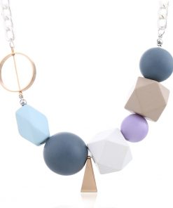 Summer colored wood pendant necklace European and American jewelry fashion geometric accessories female accessories New YNR-014