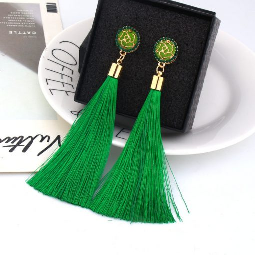 European and American fashion hot sale Chao women exaggerated long temperament rose flower tassel earrings YLX-037