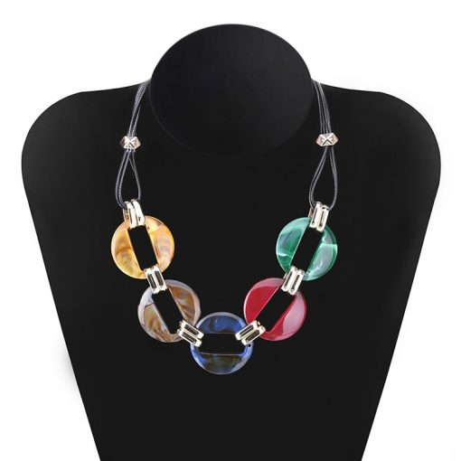 Color acrylic acetate plate pendant necklace female wax line popular necklace YNR-014