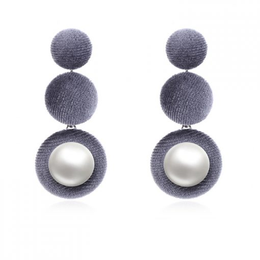 Korean flannel button inlaid pearl earrings wholesale YNR-035