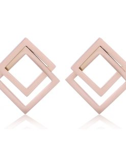 Women's carbon steel geometric stud earrings Stainless steel rose gold stud earrings YNR- 032