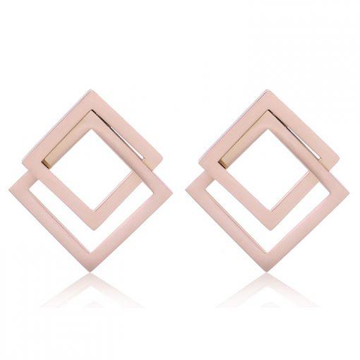 Women's carbon steel geometric stud earrings Stainless steel rose gold stud earrings YNR- 032