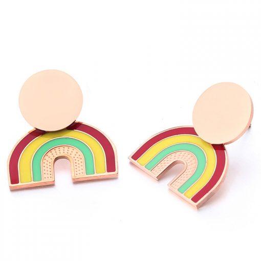 Carbon steel rainbow stainless steel rose gold earrings YNR-034