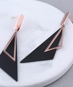 Carbon Steel Geometric Stud Earrings Stainless Steel Rose Gold Earrings YNR-024