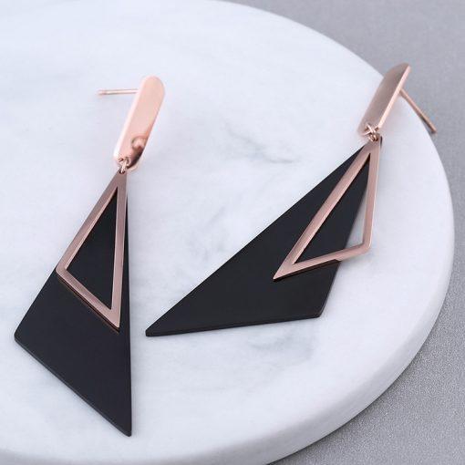 Carbon Steel Geometric Stud Earrings Stainless Steel Rose Gold Earrings YNR-024