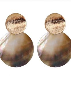 Europe and the United States heavy metal temperament curved disc natural shell ring personality earrings YLX-118
