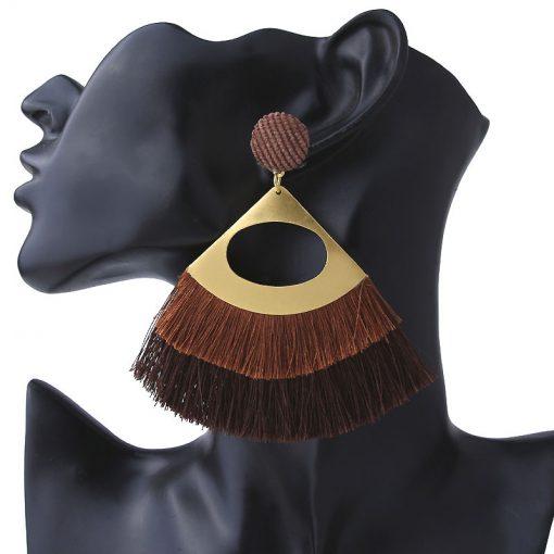 New retro exaggerated alloy hollow Bohemian tassel earrings ladies fashion fan earrings ylx-116