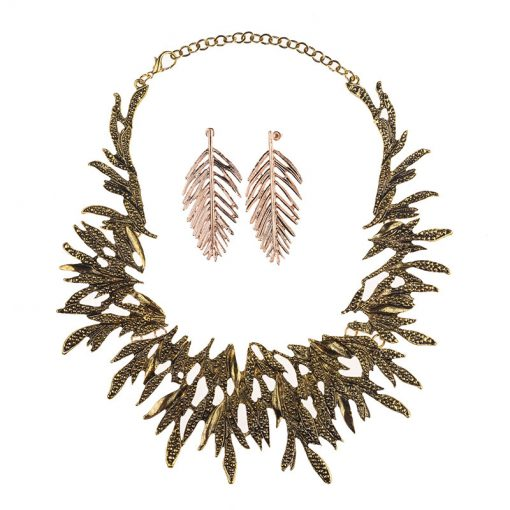 Retro pop plating exaggerated short clavicle necklace earrings set wholesale YQL-008