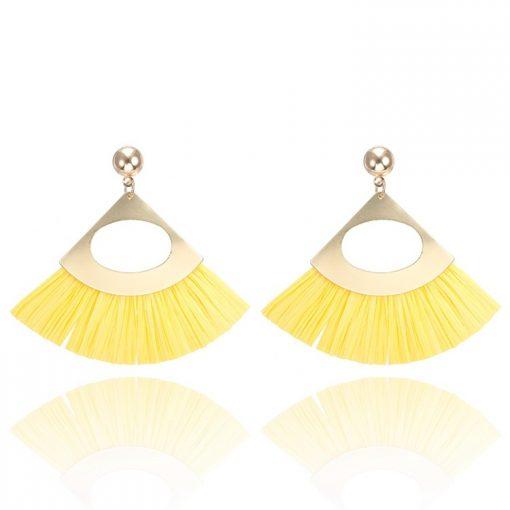 Lafite grass tassel new fan-shaped earrings YNR-031