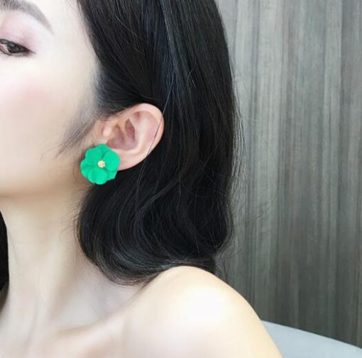 Color flower earrings female Korean temperament exaggerated cold wind earrings YLX-054